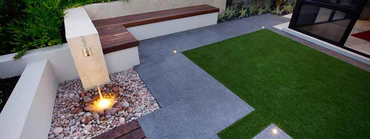 Image showing grass area, paving and in-built seating