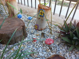 Small stones and wooden ornaments in a nature playground