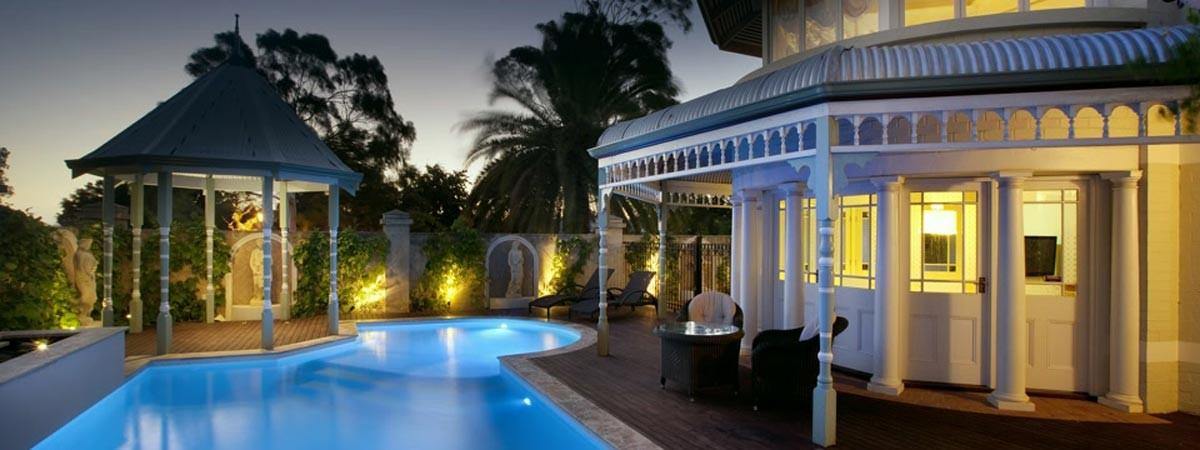 Image showing a pool and gazebo on dusk