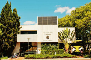 The outside of the Subiaco Library with a vertical garden wall on the front