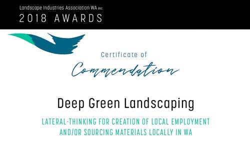 2018 Certificate of Commendation | Landscape Industries Association WA inc.